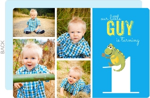 Bright Blue Photo Dinosaur 1st Birthday Invitation