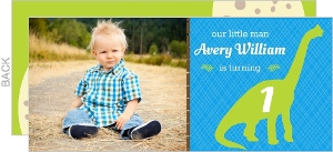 Green Dino Pattern First Birthday Invitation