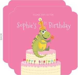 Dino Cake Pink Birthday Invitation