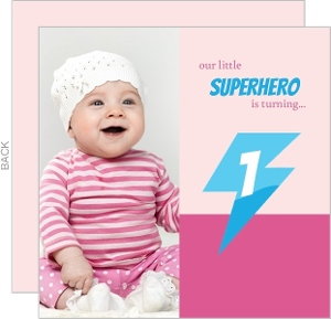 Pink Lightening Photo Superhero Birthday Invitation
