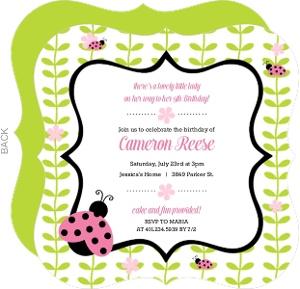 Floral Green Vines Ladybug Birthday Invitation