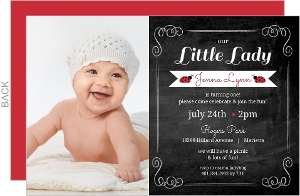 Red Black Chalkboard Frame Ladybug 1st Birthday Invitation