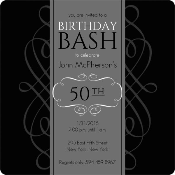 Black and Grey Formal Soiree 50th Birthday Invite – 50 Birthday Invite