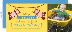 Hanging Monkeys 1st Birthday Invitation