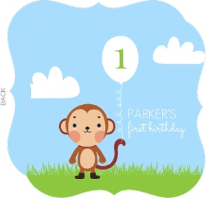 Monkey With A Balloon First Birthday Invitation
