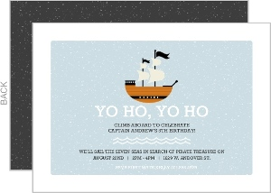 Light Blue Waves Pirate Ship Birthday Invitation