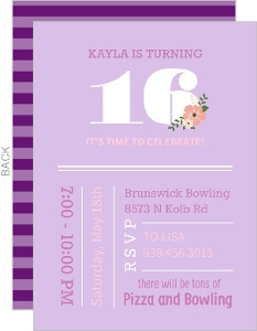 Modern Deep Purple Sweet Sixteen Birthday Invitation
