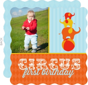 Photo Elephant Circus First Birthday Party Invitation