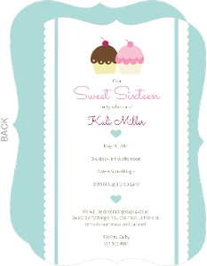 Pale Blue Sweet Sixteen Cupcake Invitation