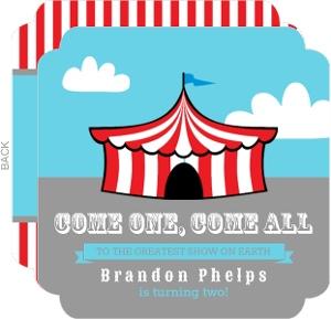 Red and White Circus Tent Kids Birthday Invite