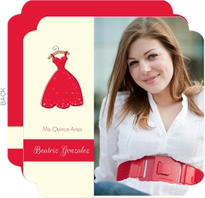 Red Dress Quinceanera Invitation