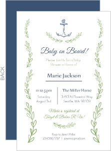 Anchor and Seaweed Baby Shower Invitation
