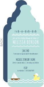 Pale Blue Sailboat and Duck Baby Shower Invitation