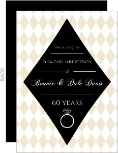 Tan Diamond Pattern Anniversary Invitation