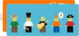 Blue Lego Men Birthday Invitation