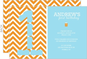 Light Blue and Orange Zig Zag 1st Birthday Invitation