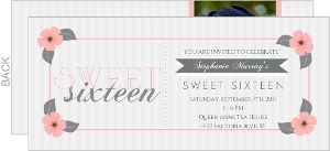 Pale Pink Flower Frame Sweet Sixteen Invitation