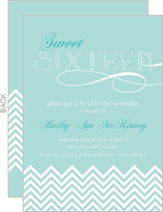 Light Blue Chevron Sweet Sixteen Invitation