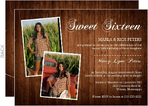 Rustic Western Photo Sweet Sixteen Invitation