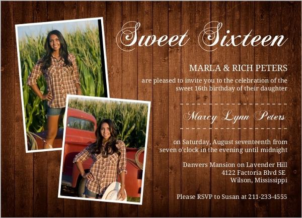 Rustic Western Photo Sweet Sixteen Invitation Sweet 16