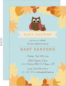 Autumn Leaves Owl Baby Shower Invitation