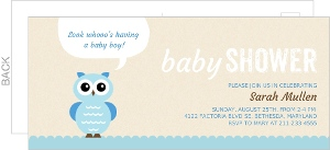 Cream and Blue Owl Baby Shower invitation