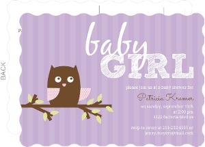 Girly Pink and Purple Stripes Owl Baby Shower Invitation