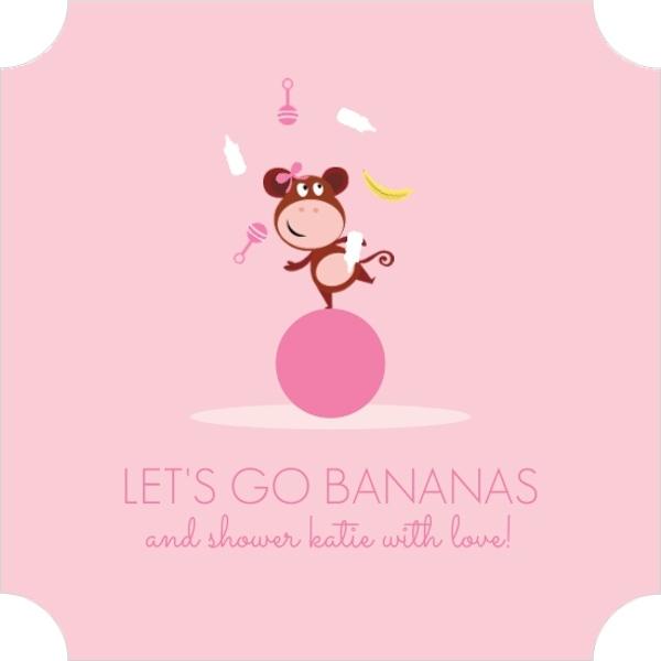girly pink monkey baby shower invitation invite shop. Black Bedroom Furniture Sets. Home Design Ideas