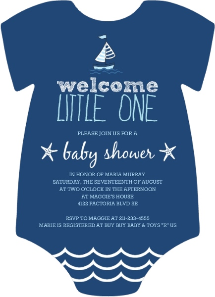Sailboats Starfish Boys Baby Shower Invitation