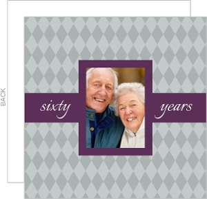 Simple Gray and Purple Diamond Anniversary Invitation