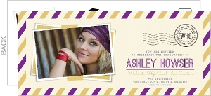 School Color Graduation Postcard Invitation