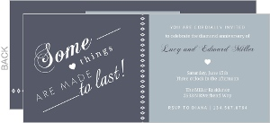 Gray-Blue Diamond Anniversary Invitation