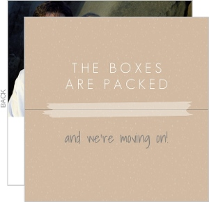 Tan Packing Box Moving Announcement