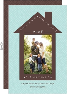 Pale Blue and Brown Roof Moving Announcement