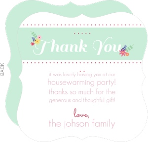Mint Green Flower Thank You Card