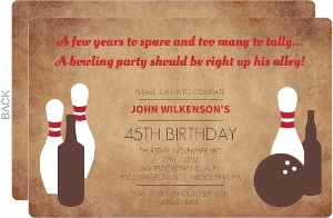 Weathered Brown Bowling and Beer Birthday Invitation