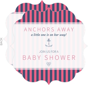 Simple Stripes Girls Nautical Baby Shower Invitation