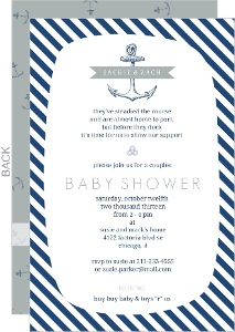 Classic Blue and White Nautical Baby Shower Invitation
