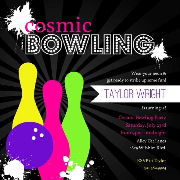 Black Neon Bowling Birthday Invitation Kids Birthday