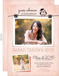 Cute Owl Photo Pin Graduation Announcement Card