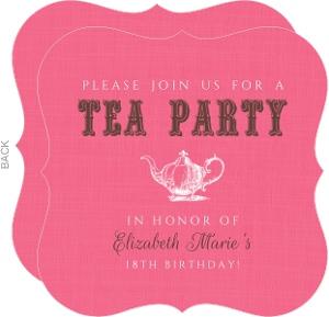 Pink Linen Tea Party Birthday Invitation