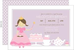 Pastel Princess Birthday Tea Party Invitation