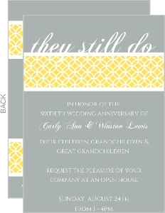 Modern Lemon and Asphalt Wedding Anniversary Invitation