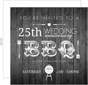 Rustic Woodgrain Barbecue Silver Anniversary Invitation
