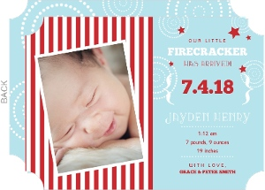 Fourth of July Fireworks Birth Announcement