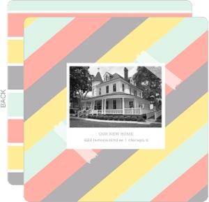 Retro Photo Colorful Stripes Moving Announcement