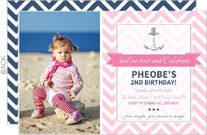 Pink Chevron Nautical Birthday Invitation