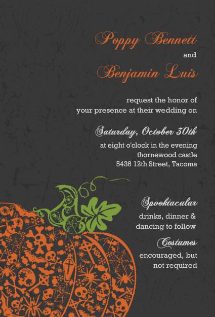 Fancy Orange Pumpkin Halloween Wedding Invitation