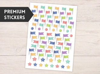 Colorful Flag Pin Premium Sticker
