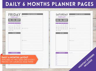 "8.5"" x 11"" inch - 6 Month Daily Planner Pages"